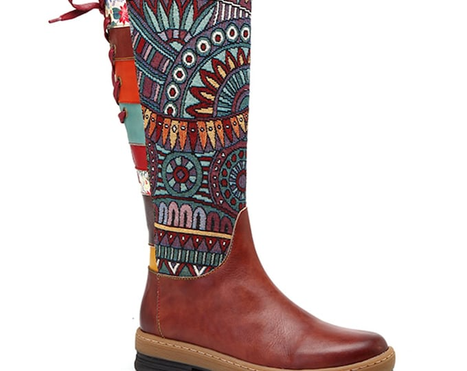 Handmade Hand-rubbed Brown Leather/Tribal-patterned Jacquard Fabric Splicing Zippered Boho Boots with Rear Patchwork Banding & Lacing