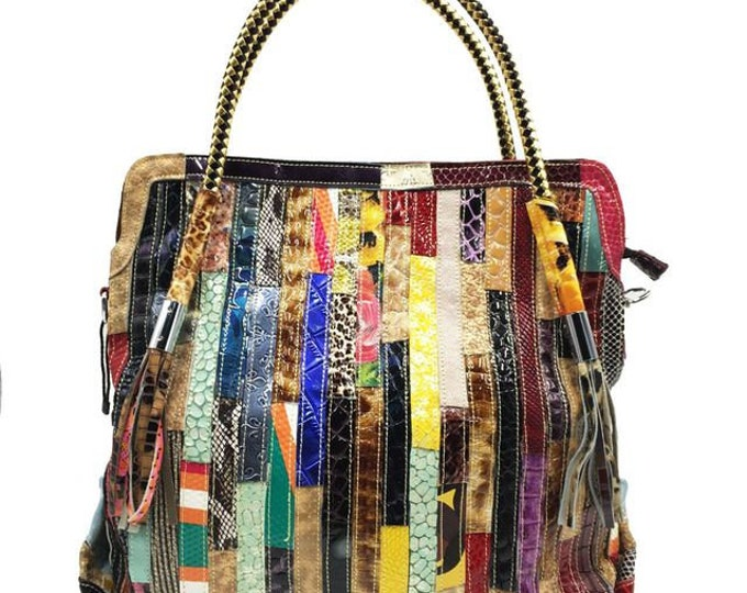 Multi-colored/Multi-textured Leather Boho Shoulder Bag/Handbag, Vertical-striped Pattern with Braided Metallic Handle and Tassels