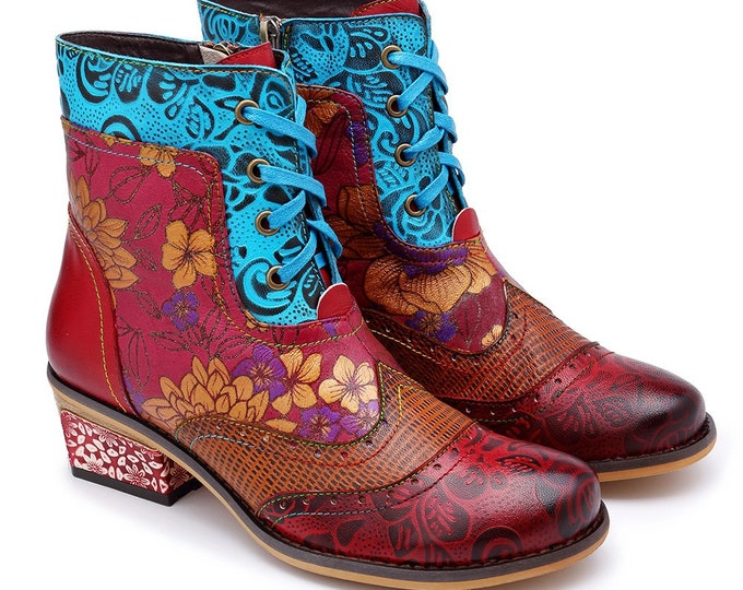 Handmade Floral-embossed Leather Wingtip-style Zippered Boho Ankle Boots