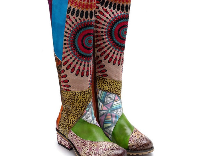 Handmade Embossed Leather Boho Boots with Multi-color Floral Patchwork, Central Radiant Sunburst Design, and Lace-crowned Shaft