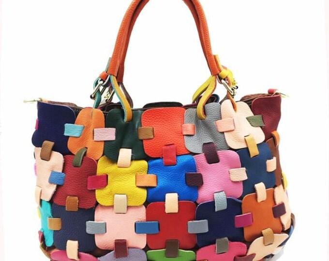 Multi-colored Leather-plated Boho Handbag/Shoulder Bag