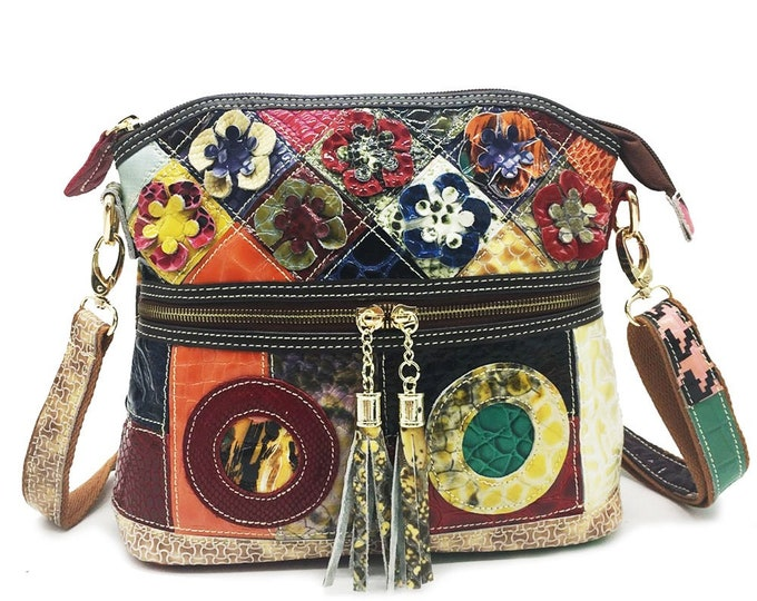 Multi-colored/Multi-textured Leather Boho Shoulder/Messenger Bag, Patchwork Pattern Adorned with Tassels and 3-D Leather Flowers