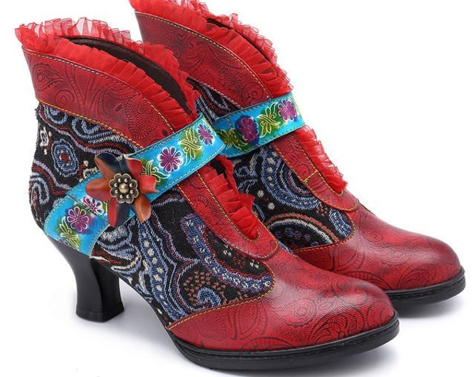 Retro Vintage Spanish-style Ankle Boots with Flamenco Garrucha Curved Heels, Lace, Embossed Paisleys & Jacquard Fabric Overlay [USA]