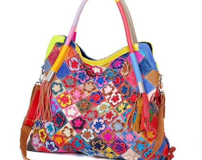 Multicolored Leather Boho Handbag/Shoulder Bag, Patchwork Pattern Adorned with 3-D Leather Flowers