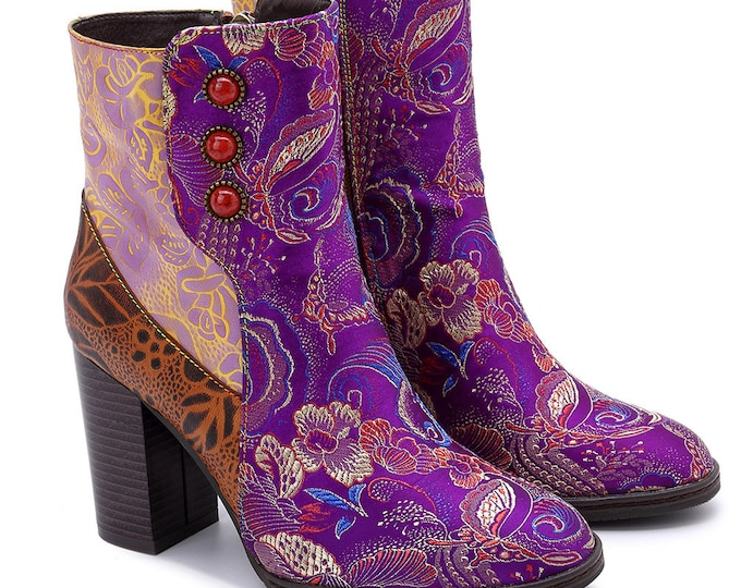 Handmade Asian-style Leather/Floral & Butterfly-embroidered Fabric Splicing High-heeled Zippered Boho Ankle Boots with Inset Colored Stones