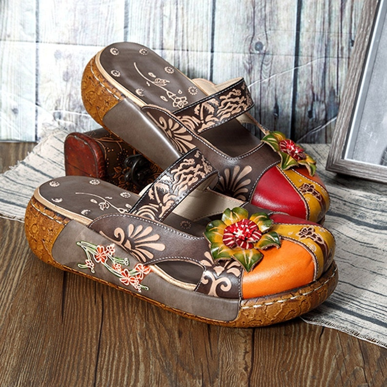 2d2df8e738fbe Hand-painted Backless Strapped Boho Mules/Flats/Sandals Adorned with 3-D  Leather Roses (available in Gray, Red or Grass Green)