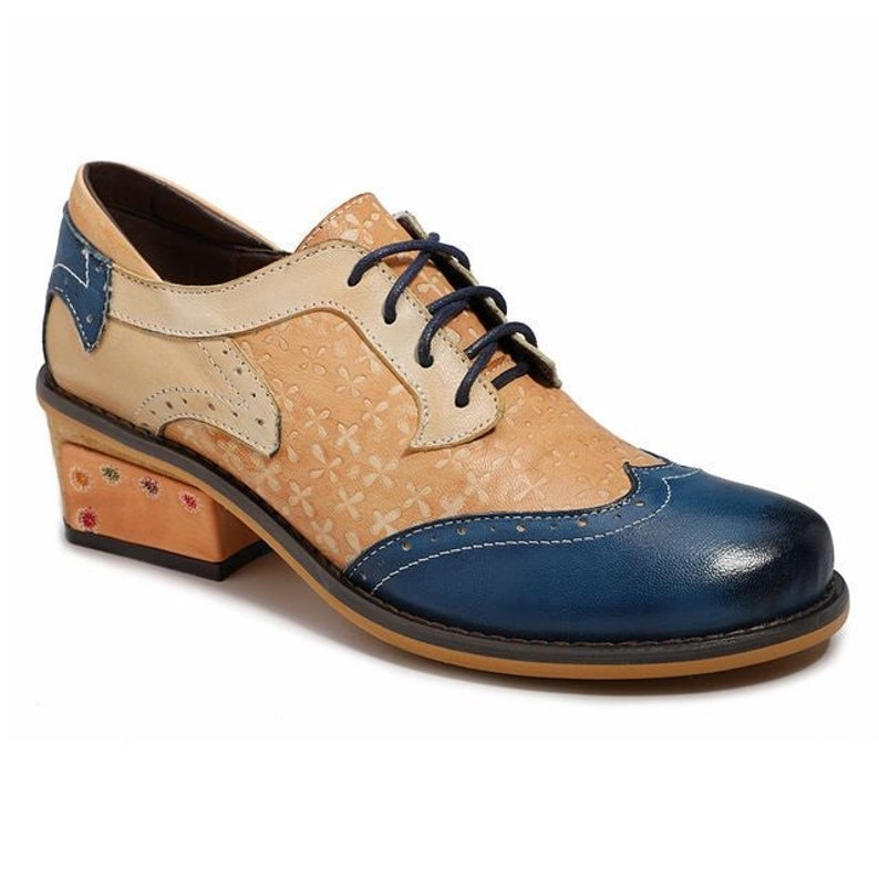 905b1dda701b5 Hand-painted Floral-embossed Nude Dual-tone (Blue or Brown) Leather Wingtip  Oxford Shoes [USA]