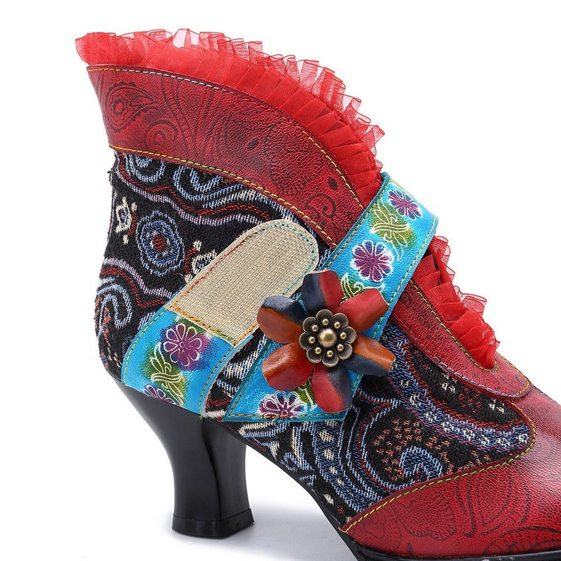 Lace Retro Vintage Spanish-style Ankle Boots with Flamenco Garrucha Curved Heels Embossed Paisleys /& Jacquard Fabric Overlay USA
