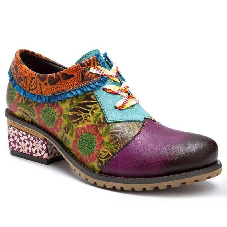 406008de9921b Hand-painted Green & Purple Floral-embossed Leather Lace-up Boho Oxford  Wingtip Shoes with Lace Ankle Trim