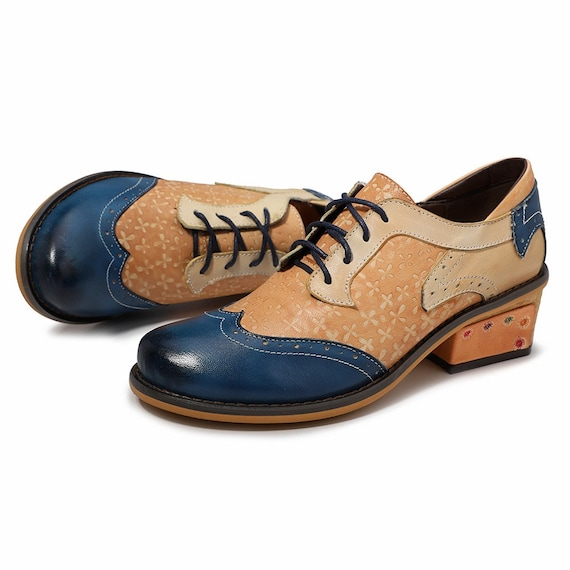 865c2c7c3d1ac Hand-painted Floral-embossed Nude Dual-tone (Blue or Brown) Leather Wingtip  Oxford Shoes