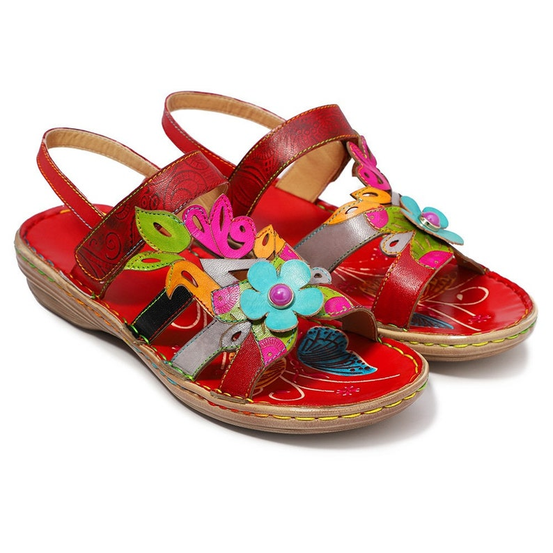 db5ad096d4be0 Handmade Paisley-embossed Leather Adjustable-strap Boho Sandals with 3-D &  Cut-out Flowers