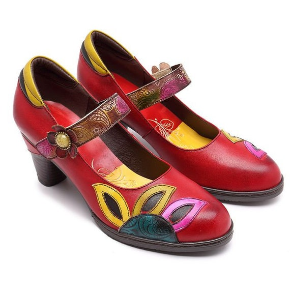 8fe9312c88cf7 Handmade Leather Splicing Tapered-heeled Mary Jane Pumps with Flower and  Petals Motif