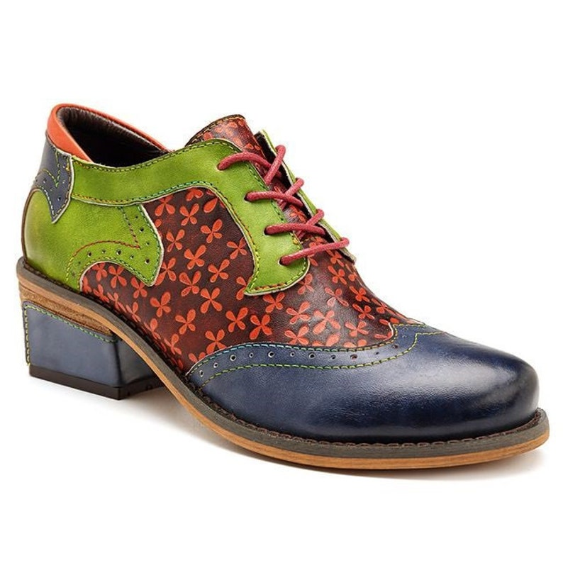 04d4f34c5ba41 Hand-painted Celtic-themed Green & Blue Floral-embossed Leather Lace-up  Boho Oxford Wingtip Shoes [USA]