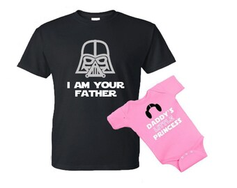 702c2fd0 I am your Father - Daddy's little Princess Star Wars dad and daughter baby  one piece bodysuit Tshirt matching set (PRICE is for both shirts)