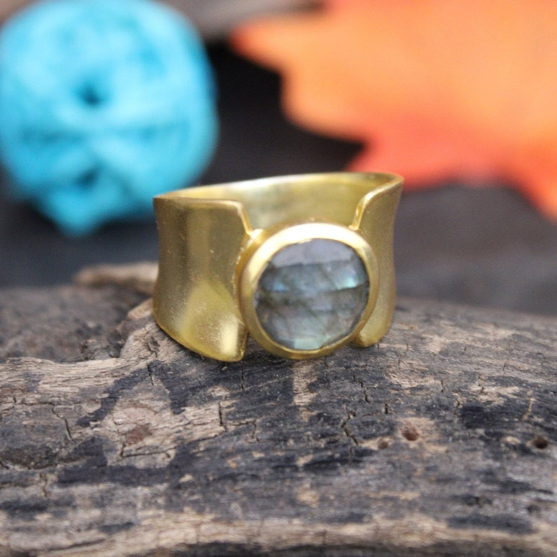 Labradorite Rings 925 Sterling Silver Faceted Natural Garnet Gemstone Handmade Matt Gold Plated Single Stone 6.1 Gram Rings Women Jewelry