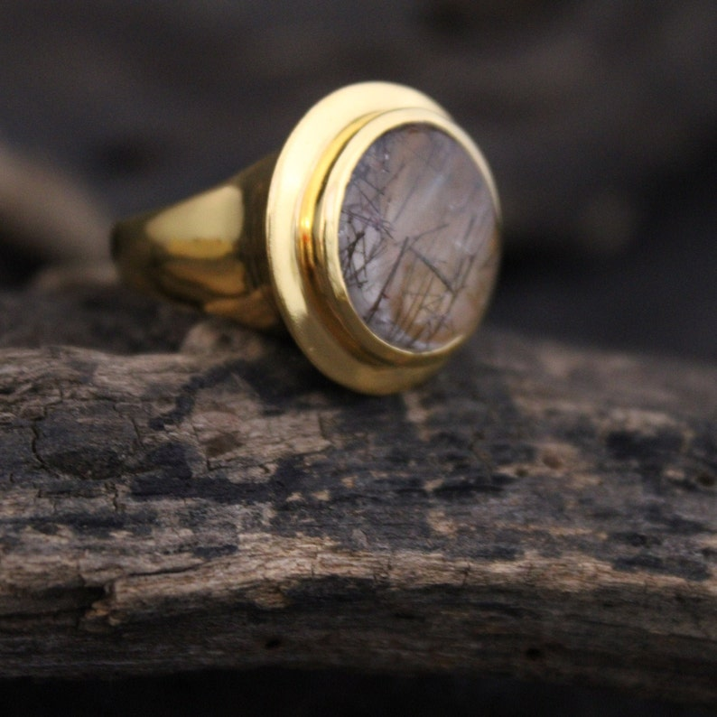 Urban Tribe Store,Black Rutile Ring,1 Micron Gold Plated Ring,Sterling Silver 925 Ring,Wedding Jewelry,Christmas Gift,Handmade Jewelry,Gifts
