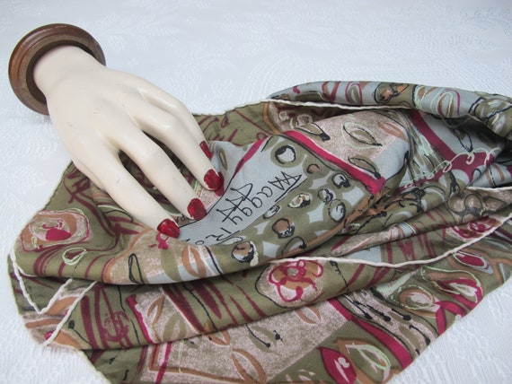 Maggy Rouff vintage scarf in khaki silk and pink