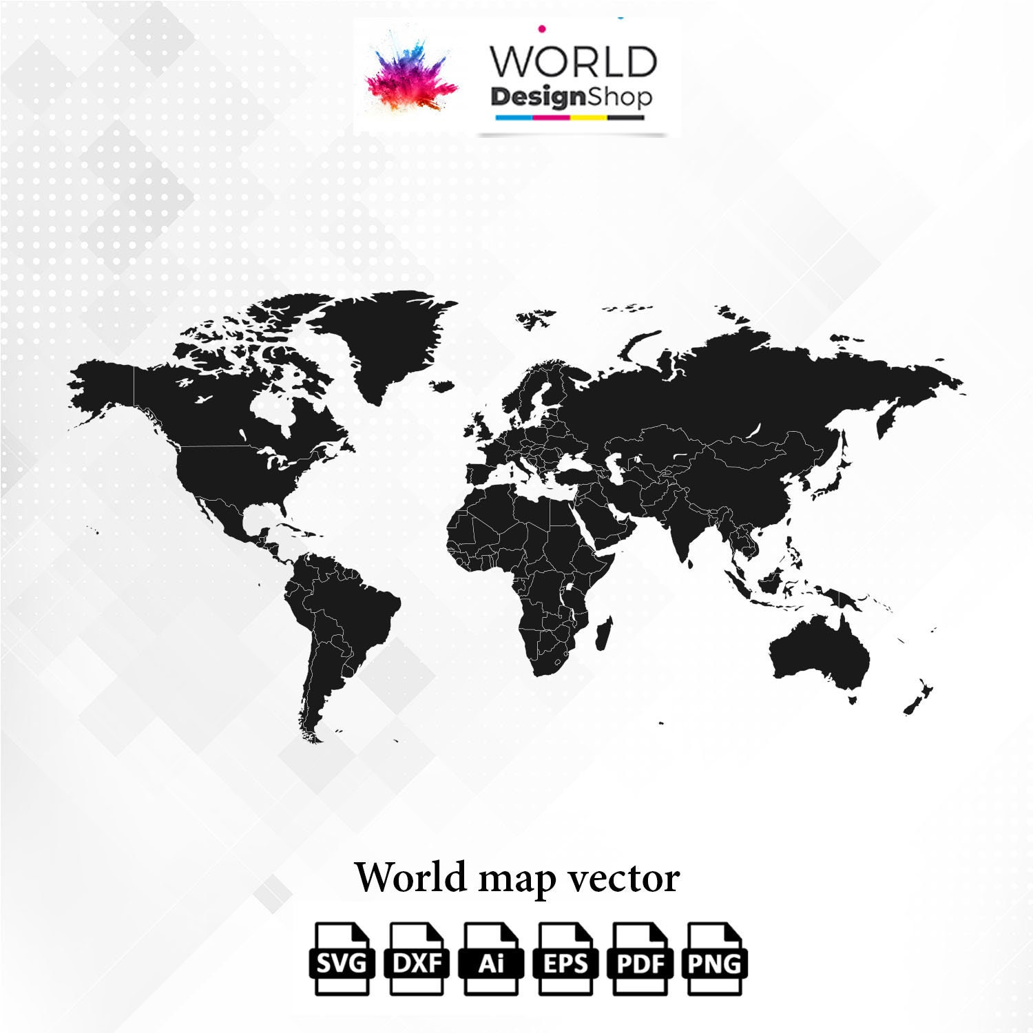 2 World maps SVG clipart vector Cut files Eps Ai Pdf Dxf Png