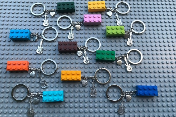 LEGO 2x4 Brick Keyring Keychain Various Colors with Bicycle