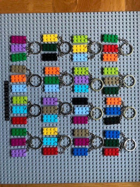 PARTY FAVOR 5 LEGO BRICK BLOCK PLATE KEY RING CHAIN KEYRING BACKPACK CHARM GIFT