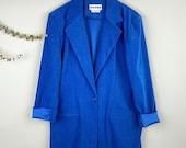 Joan Leslie Vintage Cobalt Blue Faux Suede Blazer