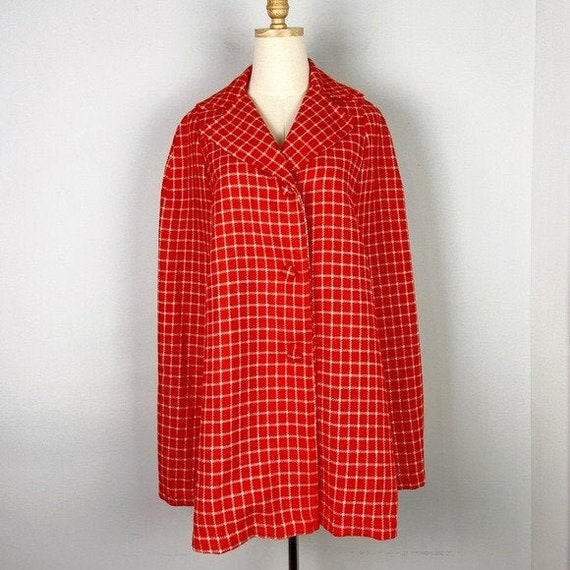 Vintage 1960's Orange and White Checked Cape Jacke