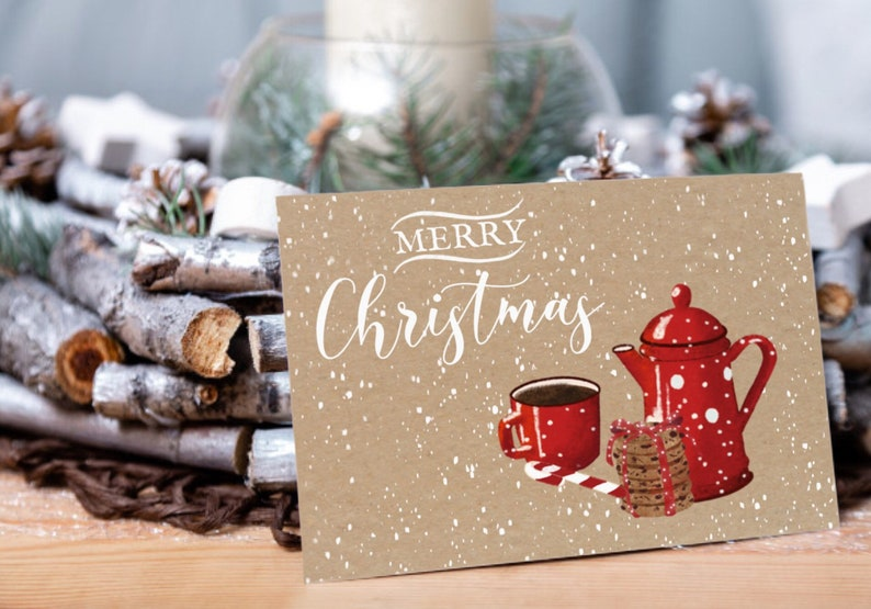 Christmas card cookies and coffee vintage atmosphere  A cozy image 0