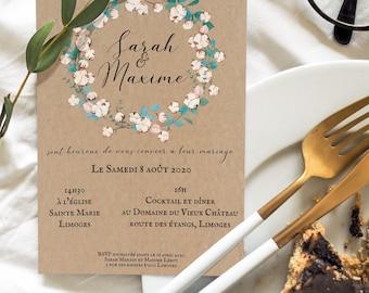 Wedding Kit Save The Date Part Card Response Cotton Calendar and Eucalyptus in Kraft- Wedding, Wedding Cotton, Calendar.