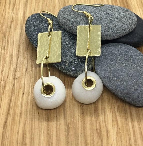 White quartz tube riveted beach pebble earrings