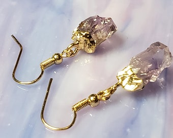 earrings in natural stone amethyst crystal rings galaxy 2 colors gold metal and silvery gift idea jewel woman
