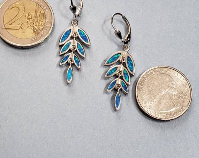 Blue opal earrings olive leaf sterling silver 925  earrings style-925 sterling silver quality. Great gift for the girl with everything.