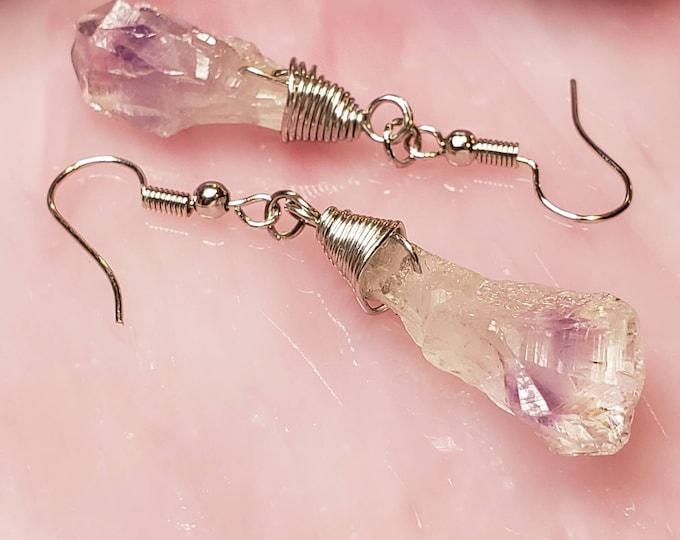 Raw Purple Amethyst Earring, Crystal Earrings, Raw Amethyst Earrings, Crystal Point Earrings, Dangle Crystal, Boho Earring, Raw Stone Drop