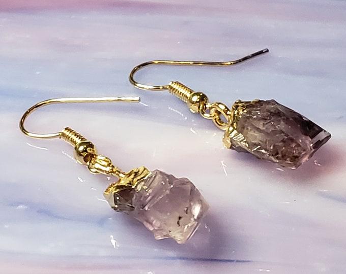 Amethyst Crystal Earrings - Gold or Silver Raw Crystal Earrings - Crystal Point Earrings - Gift For Her - Lavender Amethyst Earrings
