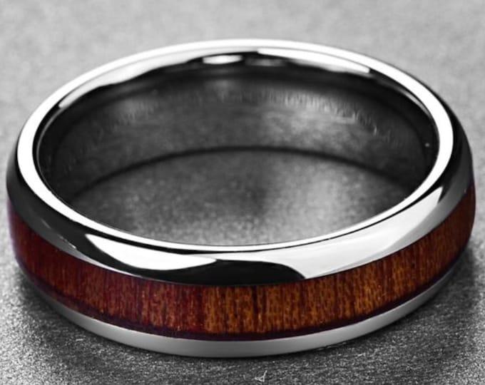 Koa Wood Inlay Tungsten Ring, Silver Tungsten  Band, Wood Tungsten Ring.