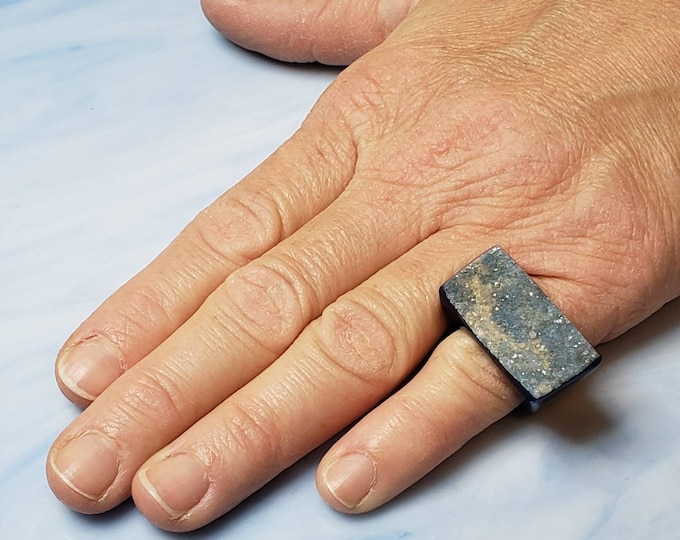 Statement ring in blue druzy, size 6