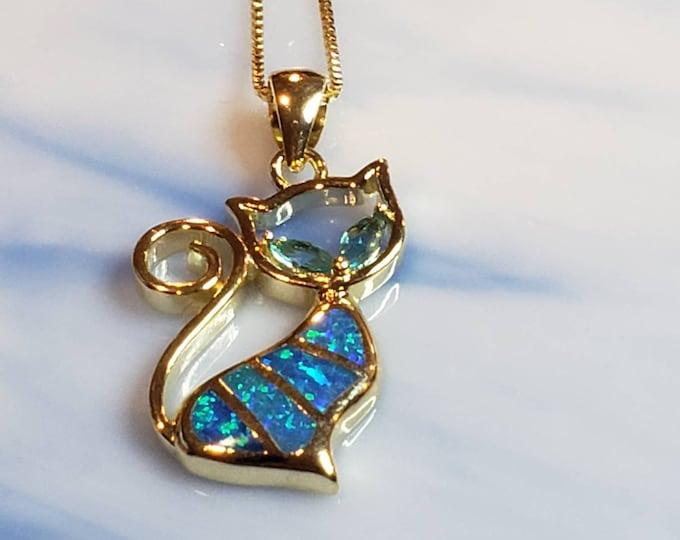 Blue Opal Yellow Gold Necklace  Pet Pendant, Cat Charm Pendant,Cat Lover Jewelry