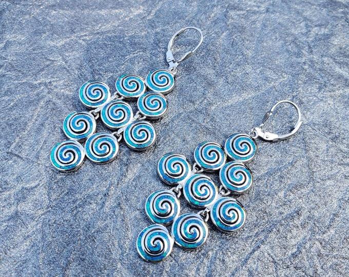 Greek Sterling Silver 925, Blue Opal Chandelier spiral Earring infinite Earrings, Hand Made in Athens Greece