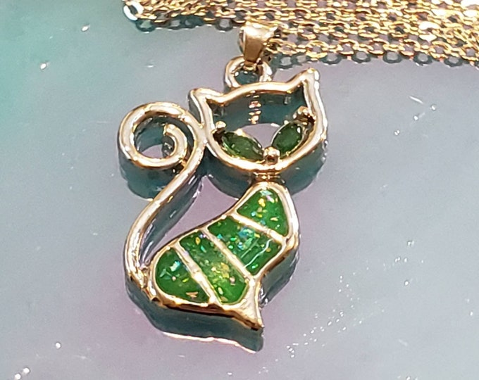 Green Opal Cat Necklace Sterling Silver Plated Pet Pendant, Cat Charm Pendant,Cat Lover Jewelry