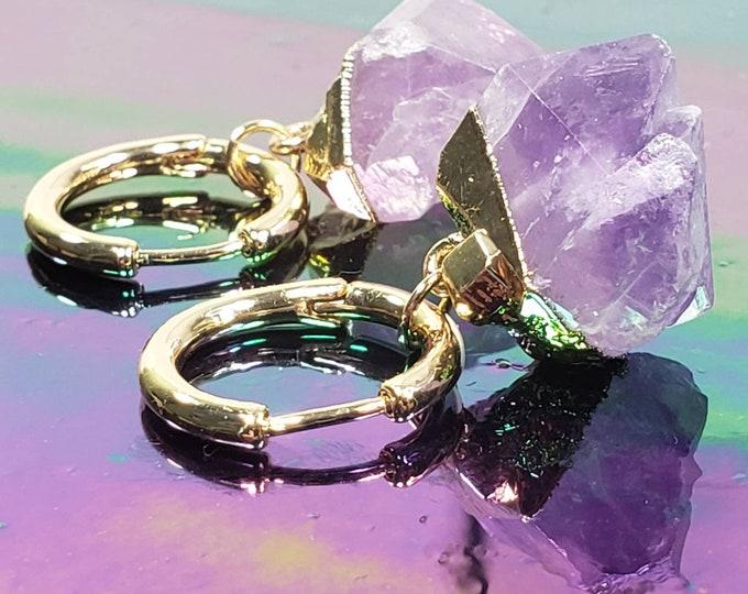 Gold Hoop Raw Amethyst Earrings, raw purple amethyst earrings
