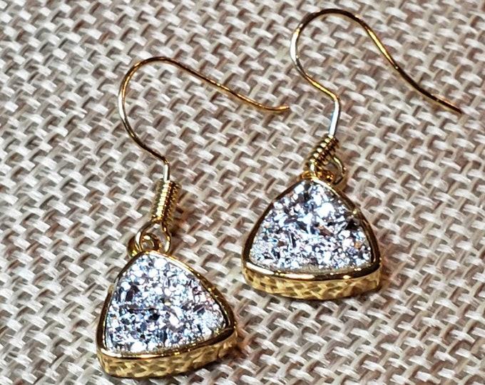 Triangle drop sparkle earrings.