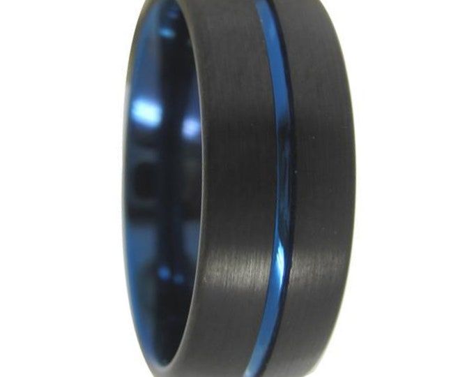 Blue Tungsten Ring - Unisex Wedding Band, Tungsten Ring, Never Scratch Ring - Lifetime Warranty