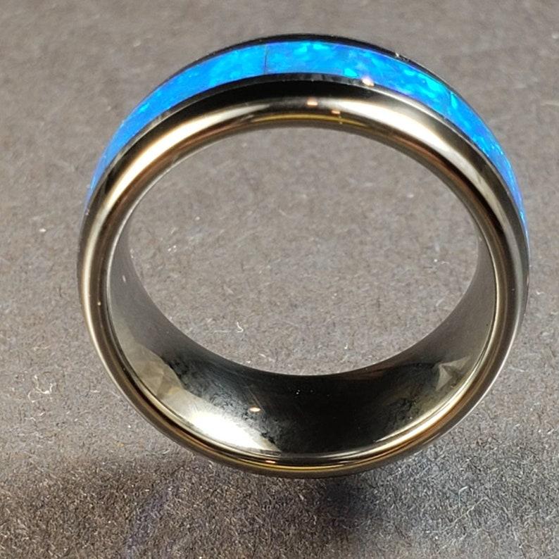 Tungsten Galaxy Blue-Green Opal Tungsten 8 mm Ring.