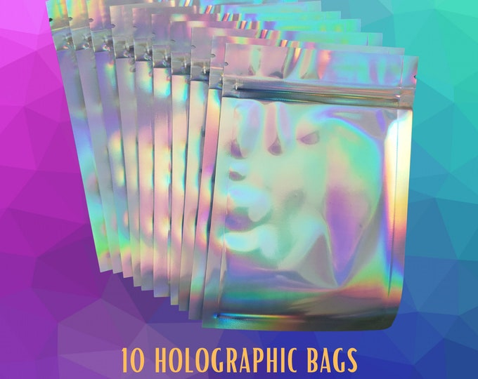 10 Holographic Color Bags. Resealable Smell Proof Bags Foil Pouch Bag. Lip Gloss Bag Size 4x6 Inches 10 bags.  Free Shipping with Tracking.