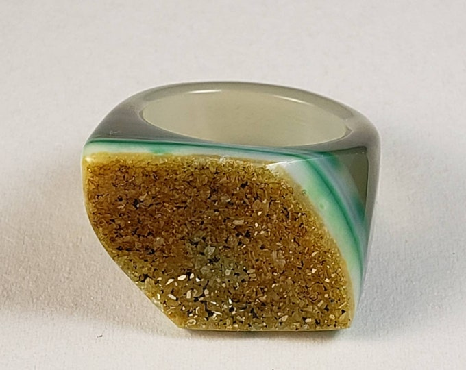 Size 6 Caribbean Sand Druzy/Drusy Agate Ring. Polished Ring - Chunky Crystals on Top
