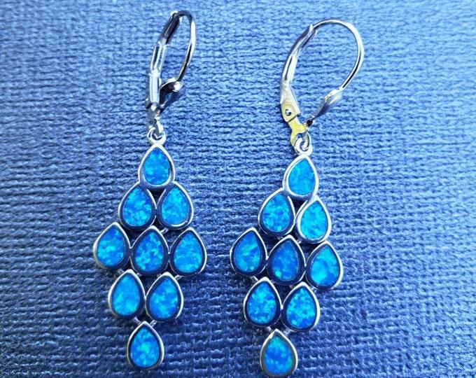Blue opal earrings chandelier teardrop earrings Greek inspired sterling silver 925 made in Athens Greece.