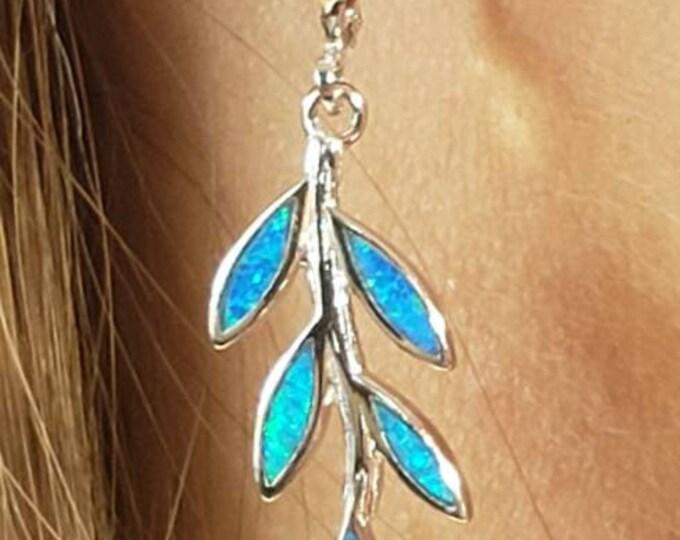 Olive leaf Blue Opal Earrings Sterling Silver 925 made in Greece.