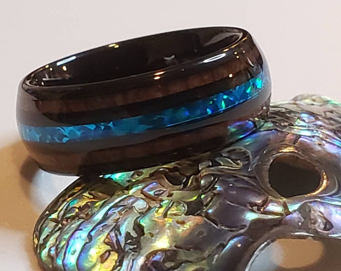 Tungsten Blue Green Galaxy Opal Koa Wood Inlay Black Domed Ring for Men and Women Wedding Bands - 8mm Polished Comfort Fit
