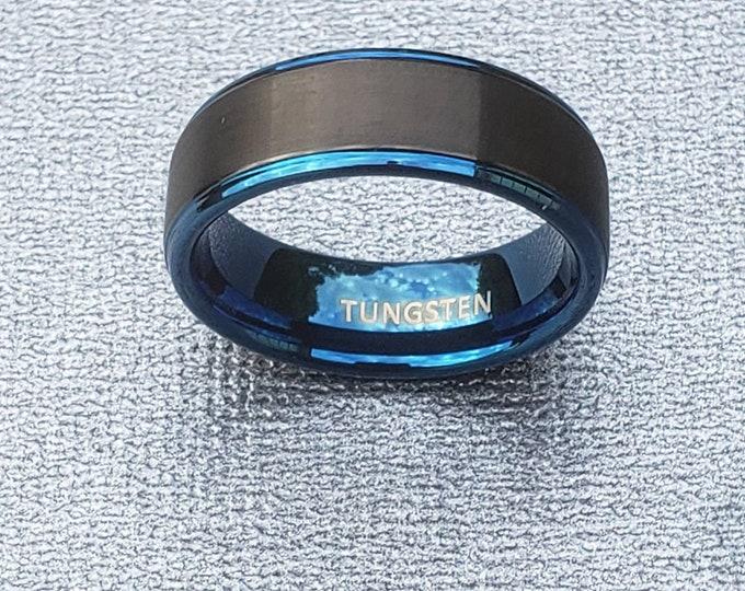 Tungsten Ring Blue Metallic and Black Tungsten Ring.