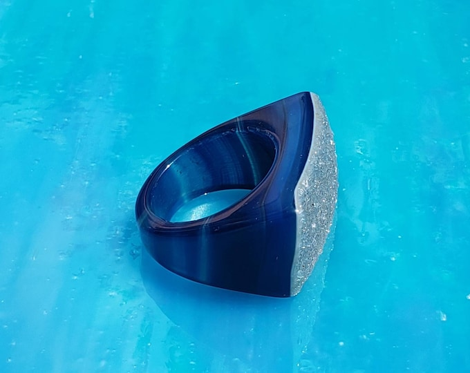 Brazilian druzy band, size 6, blue druzy statement ring, solid stone ring for a unique gift for someone special, one of a kind ring