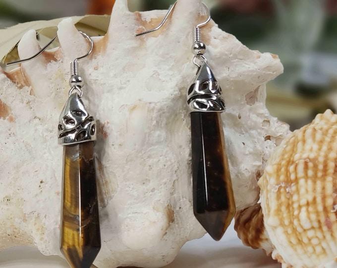 Tiger Eye Natural Gemstone Earrings Pointed Reiki Chakra Earrings. Earrings with Yellow Tiger Eye.